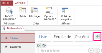 Utiliser un mode liste dans une application access access for Sur la table application