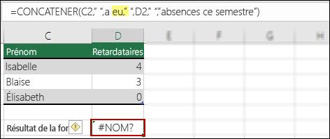 Erreur #NOM? provoquée par l'absence de guillemets doubles dans les valeurs de texte
