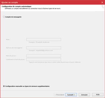 Sélectionnez Configuration manuelle ou types de serveurs supplémentaires
