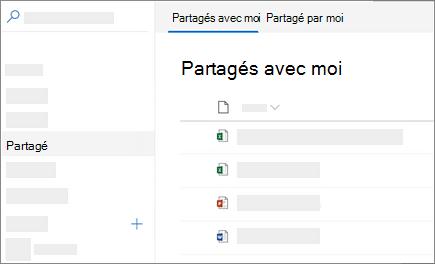 Capture d'écran de la partagés avec moi afficher dans OneDrive entreprise sur le web