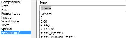 Boîte de dialogue Format de cellule, commande personnalisée, [h]: mm de type