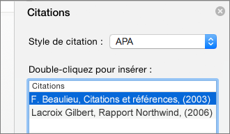 Volet Citations avec la liste des citations