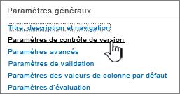Sousparamètres, cliquez sur paramètres de contrôle de version