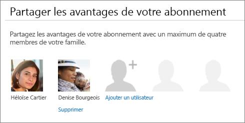 Section Partager les avantages de votre abonnement de la page Partager Office365, montrant le lien Supprimer sous la photo d'un utilisateur.