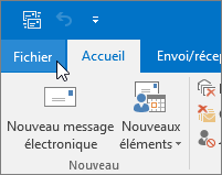 Capture d'écran du menu Fichier dans Outlook 2016