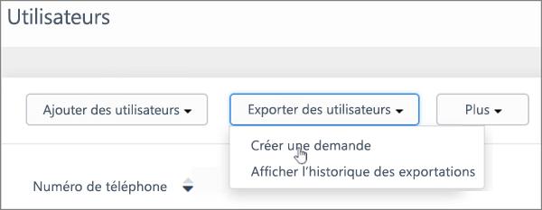 Capture d'écran: Créer une nouvelle demande pour exporter des utilisateurs Kaizala