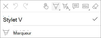 Menu du stylet de balisage PDF OneDrive for iOS