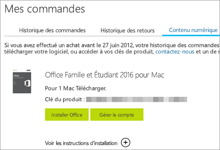 Commande numérique d'Office, sa clé de produit ainsi que des boutons permettant d'installer Office et de gérer votre compte Microsoft.