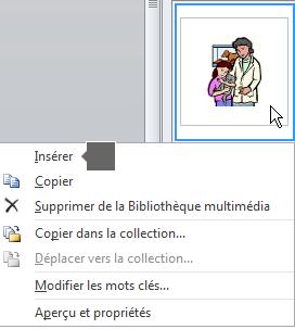 Pour insérer une image, cliquez avec le bouton droit sur une miniature, puis sélectionnez Insérer.