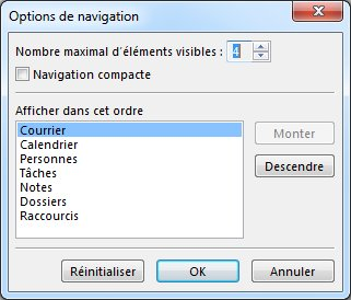 Boîte de dialogue Options de navigation