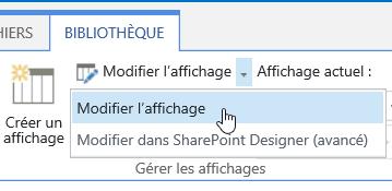 Onglet Bibliothèque avec l'option Modifier l'affichage en surbrillance