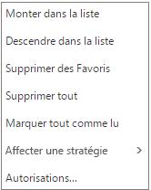 Menu contextuel ou menu de raccourcis qui s'affiche lorsque vous cliquez avec le bouton droit sur la boîte de réception