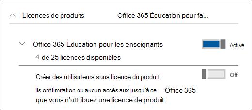 Capture d'écran de l'ajout d'un utilisateur dans Office 365, affichant la section licence du produit développée.