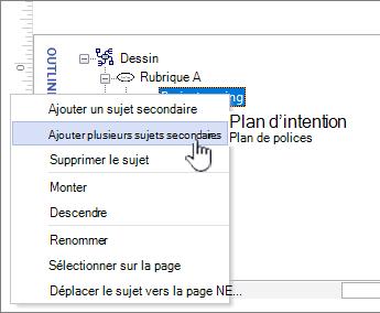 Sélectionner ajouter plusieurs rubriques dans le menu contextuel
