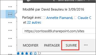 Sélectionnez la commande Suivre dans le menu de la carte contextuelle dans OneDrive Entreprise