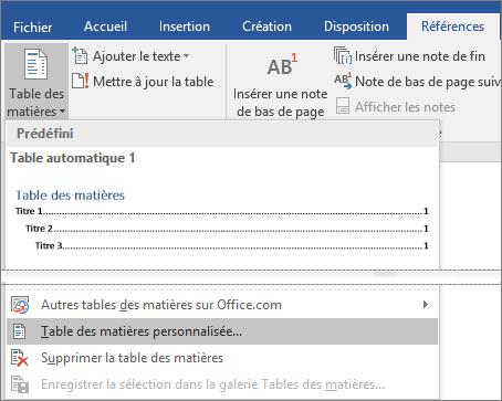 L'option Table des matières personnalisée apparaît dans le menu Table des matières.