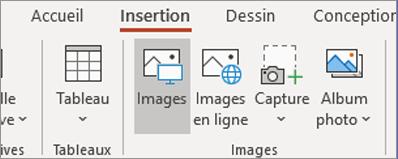 Dans l'onglet Insertion, cliquez sur Images.