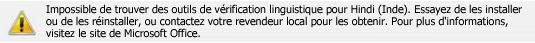 Message d'erreur de module linguistique