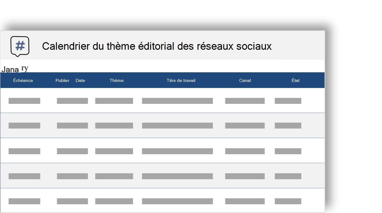 image conceptuelle d'un calendrier éditorial thème médias sociaux