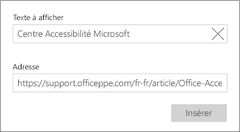 Ajouter un texte de lien hypertexte.