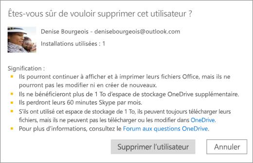 Capture d'écran de la boîte de dialogue de confirmation qui s'affiche quand vous supprimez un utilisateur de votre abonnement Office365Famille.
