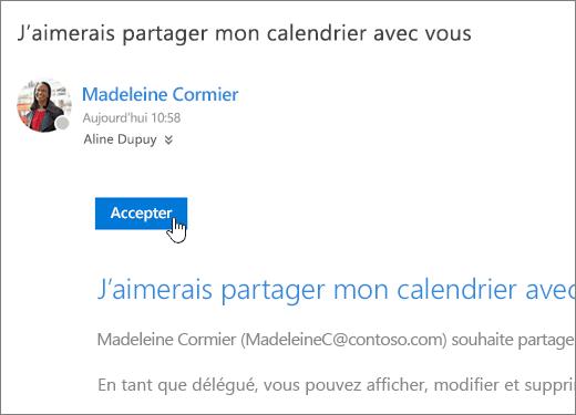 Invitation à utiliser un calendrier partagé