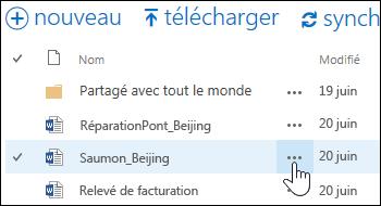 Sélectionner l'icône de points de suspension Plus pour ouvrir la carte de survol du document