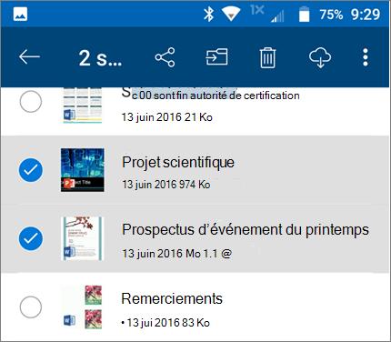 Fichiers sélectionnés