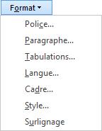 Dans la boîte de dialogue Rechercher et remplacer, sélectionnez Mise en forme, puis une option dans la liste déroulante.