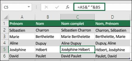 """Utilisez = A2&"""", """"&B2 pour concaténer du texte comme le nom et prénom"""