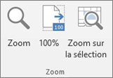 Zoom group on the Excel ribbon