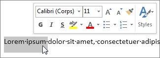 Mini barre d'outils avec du texte sélectionné