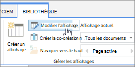 Onglet Bibliothèque du ruban SharePoint Online modifier l'option d'affichage