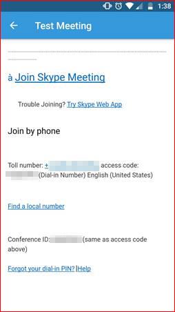 Modèle d'invitation réunion avec le code d'accès
