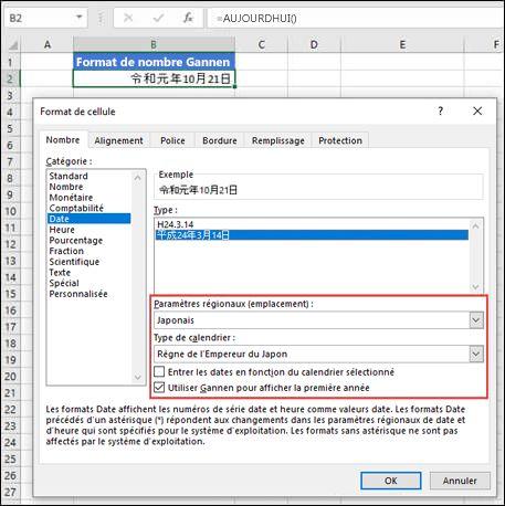 Image de la boîte de dialogue Format de cellule dans le volet Nombre avec le format de date Gannen appliqué.