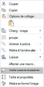 Menu modifier le texte de remplacement d'Excel Win32 pour les images