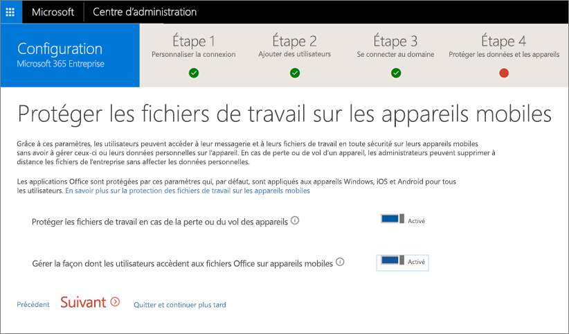 Capture d'écran de la page Protéger vos fichiers professionnels sur vos appareils mobiles
