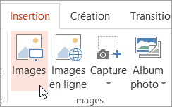 Bouton Images sous l'onglet Insertion