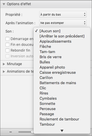 Capture d'écran montre la section Options d'effet du volet des Animations avec le menu audio développé.
