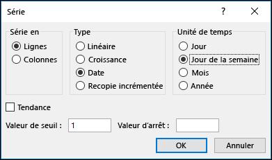 Excel remplissage > options des séries