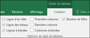 Image de l'option Outils de tableau du ruban lorsqu'une cellule de tableau est sélectionnée