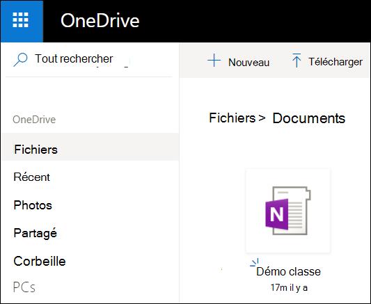 Dossier de documents de OneDrive de compte Microsoft