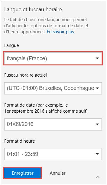 Capture d'écran montrant les paramètres de langue choisie