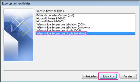 Choisissez d'exporter un fichier .csv (Windows).