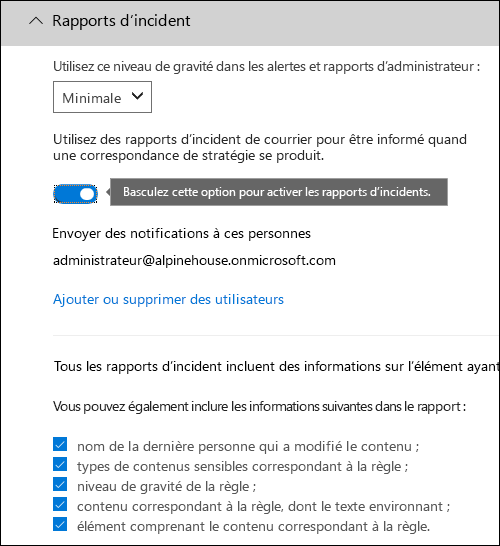 Page de configuration de rapports d'incident