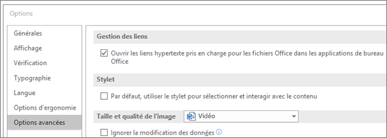 Boîte de dialogue Options avec la case à cocher Ouvrir les liens hypertexte en surbrillance