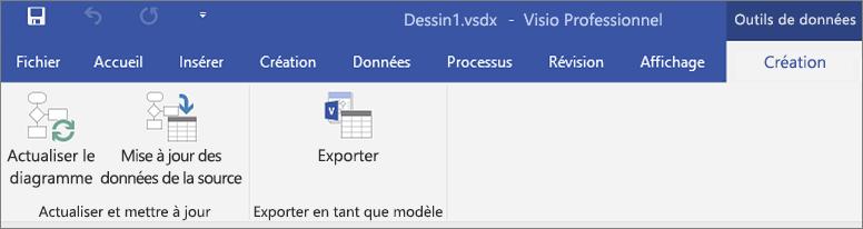 Capture d'écran des options du ruban du visualiseur de données en surbrillance - Créer, Actualiser, Exporter