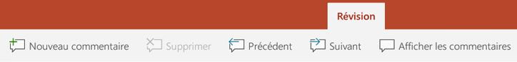 L'onglet Révision du ruban dans PowerPoint sur les tablettes Android comporte des boutons permettant à l'aide de commentaires.