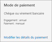 L'interface utilisateur de la section Mode de paiement indique que cet abonnement est réglé par facture.