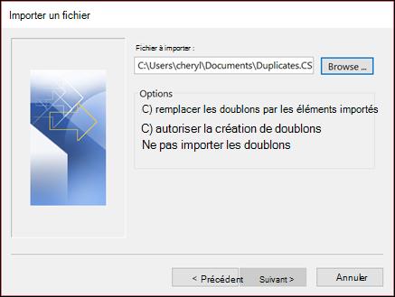 Sélectionnez le fichier à importer.